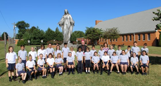 IHM 5th grade classes at the Rosary Pilgrimage with Bishop Malooly