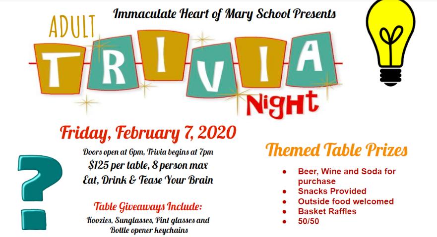 IHM Trivia Night 2-7-2020 6pm