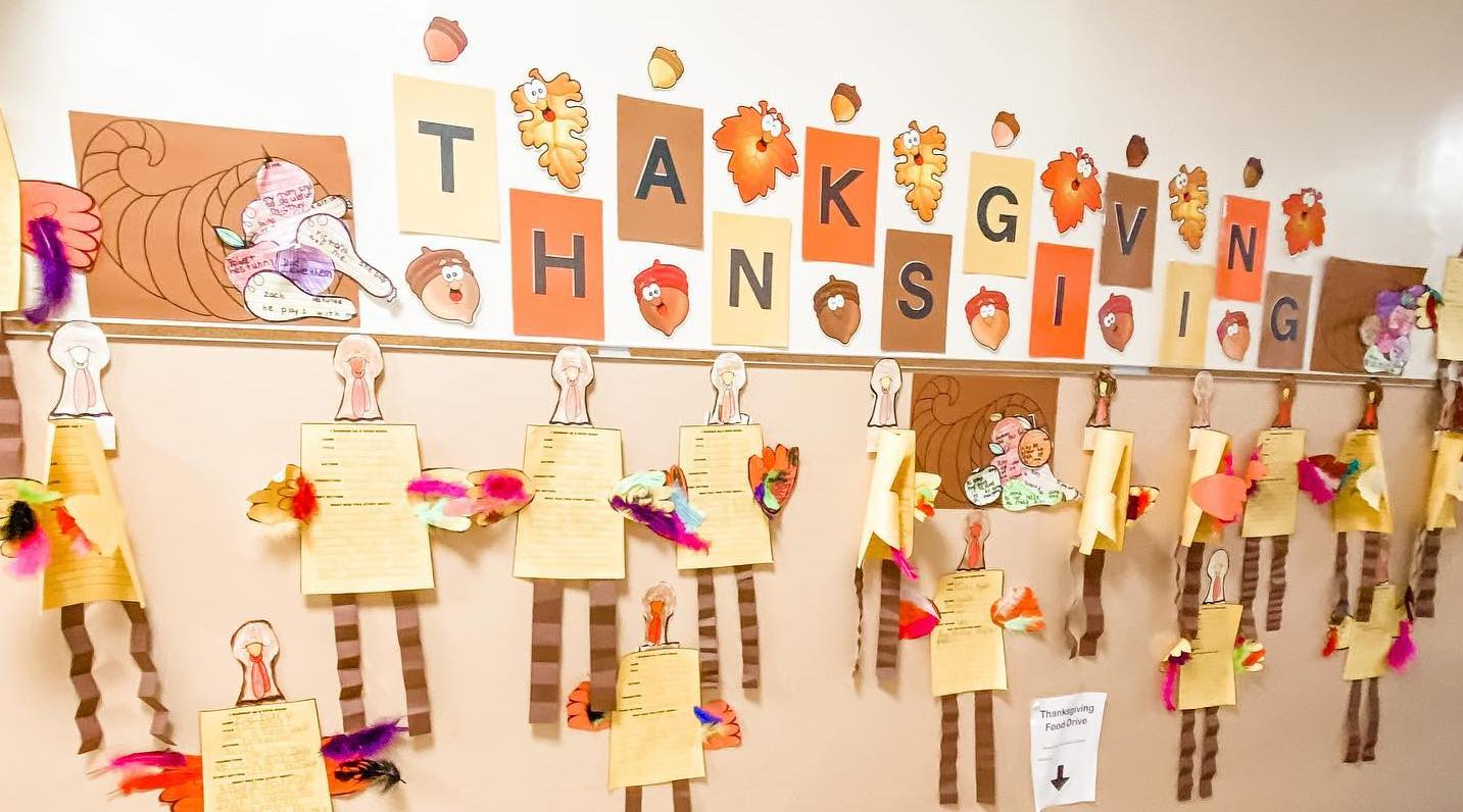 The halls are filled with creations to celebrate fall and Thanksgiving. #ihmproud 🦃🍂